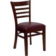 Offex Hercules Series Ladder Back Mahogany Wood Restaurant Chair, Burgundy Vinyl Seat (OF-DGW5MAH-BURV)