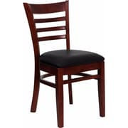 Offex Hercules Series Ladder Back Mahogany Wood Restaurant Chair, Black Vinyl Seat (OF-DGW5MAH-BLKV)