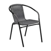Offex Gray Rattan Indoor-Outdoor Restaurant Stack Chair (OF-TLH-037-GY-G)