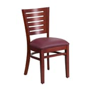 Offex Darby Series Slat Back Mahogany Wood Restaurant Chair, Burgundy Vinyl Seat (OF-W0108-M-BURV)