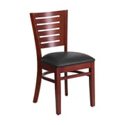 Offex Darby Series Slat Back Mahogany Wood Restaurant Chair, Black Vinyl Seat (OF-W0108-M-BLKV)