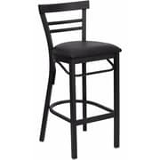 Offex Hercules Series Black Ladder Back Metal Restaurant Barstool, Black Vinyl Seat (OF-DG6R9-BAR-BV)