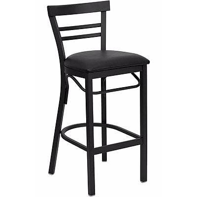 Offex Hercules Series Black Ladder Back Metal Restaurant Barstool, Black Vinyl Seat (OF-DG6R9-BAR-BV)