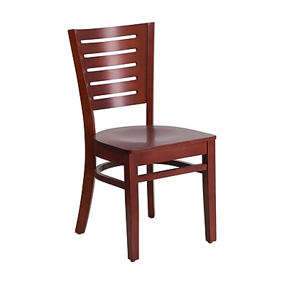 Offex Darby Series Slat Back Mahogany Wood Restaurant Chair (OF-W0108-MA-MA)