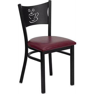 Offex Hercules Series Black Coffee Back Metal Restaurant Chair, Burgundy Vinyl Seat (OF-COF-BURV)