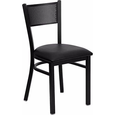 Offex Hercules Series Black Grid Back Metal Restaurant Chair, Black Vinyl Seat (OF-GRD-BLKV)