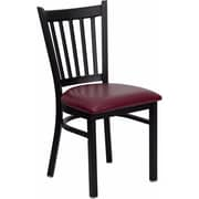 Offex Hercules Series Black Vertical Back Metal Restaurant Chair, Burgundy Vinyl Seat (OF-6Q2B-VRT-BUV)