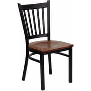 Offex Hercules Series Black Vertical Back Metal Restaurant Chair, Cherry Wood Seat (OF-6Q2B-VRT-CHW)