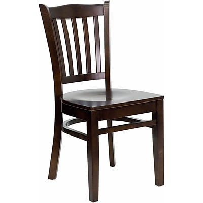 Offex Hercules Series Vertical Slat Back Walnut Wood Restaurant Chair (OF-DGW0008-WAL)