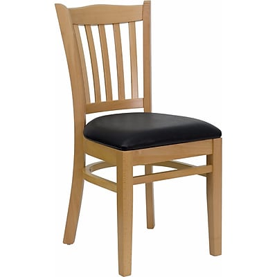 Offex Hercules Series Vertical Slat Back Natural Wood Restaurant Chair, Black Vinyl Seat (OF-DGW8-NA-BLKV)