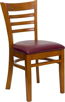 Offex Hercules Series Ladder Back Cherry Wood Restaurant Chair, Burgundy Vinyl Seat (OF-DGW5CHY-BURV)