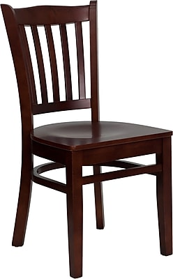 Offex Hercules Series Vertical Slat Back Mahogany Wood Restaurant Chair (OF-DGW0008-MAH)