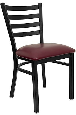 Offex Hercules Series Black Ladder Back Metal Restaurant Chair, Burgundy Vinyl Seat (OF-DG694BD-BURV)