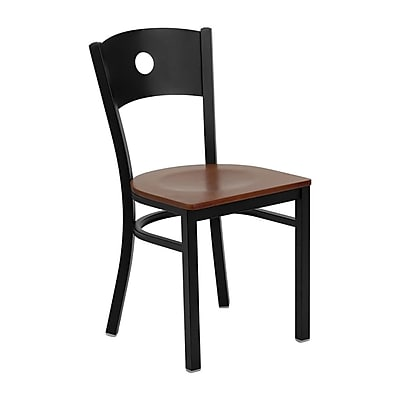 Offex Hercules Series Black Circle Back Metal Restaurant Chair, Cherry Wood Seat (OF-CIR-CHYW)