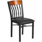 Offex Eclipse Series Vertical Back Black Metal and Cherry Wood Restaurant Chair with Black Vinyl Seat (OF-60618-CHY-BV)