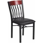 Offex Eclipse Series Vertical Back Black Metal and Mahogany Wood Restaurant Chair with Black Vinyl Seat (OF-60618-MAH-BV)