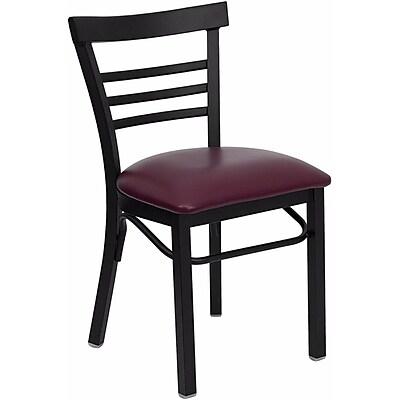 Offex Hercules Series Black Ladder Back Metal Restaurant Chair, Burgundy Vinyl Seat (OF-B1LAD-BURV)