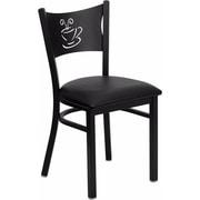 Offex Hercules Series Black Coffee Back Metal Restaurant Chair, Black Vinyl Seat (OF-COF-BLKV)