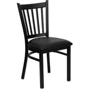 Offex Hercules Series Black Vertical Back Metal Restaurant Chair, Black Vinyl Seat (OF-6Q2B-VRT-BV)