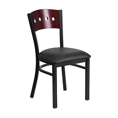 Offex Hercules Series Black 4 Square Back Metal Restaurant Chair, Mahogany Wood Back,Black Vinyl Seat (OF-6Y1B-MA-BV)