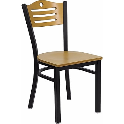Offex Hercules Series Black Slat Back Metal Restaurant Chair, Natural Wood Back & Seat (OF-6G7B-SLAT-NW)