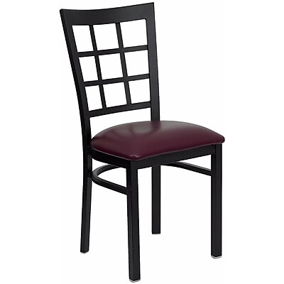 Offex Hercules Series Black Window Back Metal Restaurant Chair, Burgundy Vinyl Seat (OF-DG6Q3BWIN-BR)