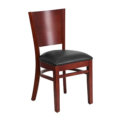 Offex Lacey Series Solid Back Mahogany Wood Restaurant Chair, Black Vinyl Seat (OF-W94B-MA-BV)