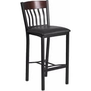 Offex Eclipse Series Vertical Back Black Metal and Walnut Wood Restaurant Barstool with Black Vinyl Seat (OF-WAL-BLKV)