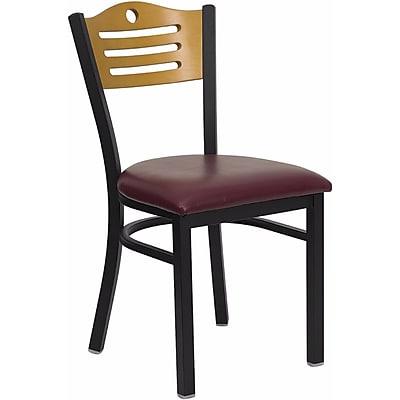 Offex Hercules Series Black Slat Back Metal Restaurant Chair, Natural Wood Back (OF-6G7B-SLT-BUV)