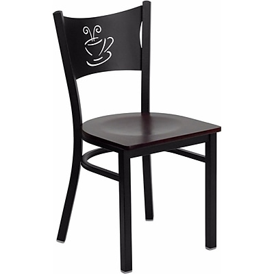 Offex Hercules Series Black Coffee Back Metal Restaurant Chair, Mahogany Wood Seat (OF-COF-MAHW)