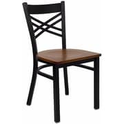 Offex Hercules Series Black ''X'' Back Metal Restaurant Chair, Cherry Wood Seat (OF-6FOBXBK-CHYW)