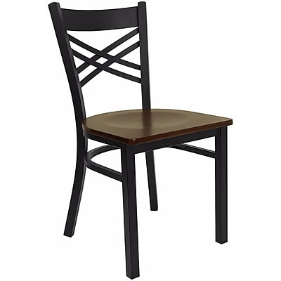 Offex Hercules Series Black ''X'' Back Metal Restaurant Chair, Mahogany Wood Seat (OF-6FOBXBK-MAHW)