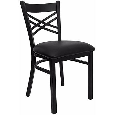 Offex Hercules Series Black ''X'' Back Metal Restaurant Chair , Black Vinyl Seat (OF-6FOBXBK-BLKV)