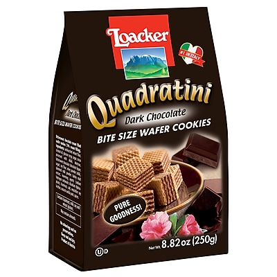 Loacker Quadratini Dark Chocolate Wafer Cookies, 8.82 Oz., 8/CT