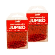 JAM Paper® Colored Jumbo Paper Clips, Red Paperclips, 2 Packs of 75 (2183754a)