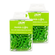 JAM Paper® Colored Standard Size Paper Clips, Lime Green Paperclips, 2 Packs of 100 (21830624a)