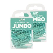 JAM Paper® Colored Jumbo Paper Clips, Teal Paperclips, 2 Packs of 75 (21832065a)