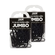 JAM Paper® Colored Jumbo Paper Clips, Black Paperclips, 2 Packs of 75 (2184933a)
