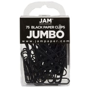 JAM Paper® Colorful Jumbo Paper Clips, Large 2 Inch, Black Paperclips, 225/Pack