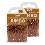 JAM Paper® Colored Jumbo Paper Clips, Copper Paperclips, 2 Packs of 75 (21832059a)
