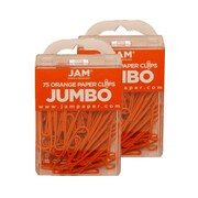 JAM Paper® Colored Jumbo Paper Clips, Orange Paperclips, 2 Packs of 75 (42186871a)