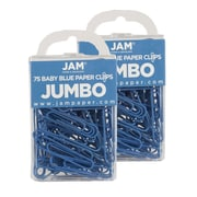 JAM Paper® Colored Jumbo Paper Clips, Baby Blue Paperclips, 2 Packs of 75 (221819034a)