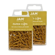 JAM Paper® Colored Standard Size Paper Clips, Gold Paperclips, 2 Packs of 100 (21832058a)