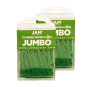 JAM Paper® Colored Jumbo Paper Clips, Green Paperclips, 2 Packs of 75 (42186878a)