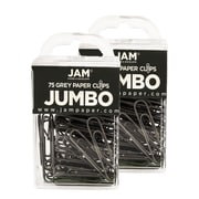 JAM Paper® Colored Jumbo Paper Clips, Grey Gray Paperclips, 2 Packs of 75 (21830628a)