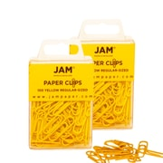 JAM Paper® Colored Standard Size Paper Clips, Yellow Paperclips, 2 Packs of 100 (2183756a)