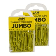 JAM Paper® Colored Jumbo Paper Clips, Yellow Paperclips, 2 Packs of 75 (42182236a)