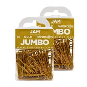 JAM Paper® Colored Jumbo Paper Clips, Gold Paperclips, 2 Packs of 75 (21832060a)