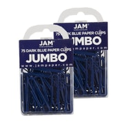 JAM Paper® Colored Jumbo Paper Clips, Dark Blue Paperclips, 2 Packs of 75 (42186869a)