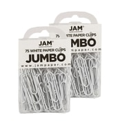 JAM Paper® Colored Jumbo Paper Clips, White Paperclips, 2 Packs of 75 (2184934a)